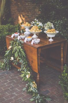 Biscuit bar by Starland Cafe and Catering in Savannah, GA. Styling by Design Studio South, florals by A to Zinnias, image by Mackensey Alexander Photography. #wedding