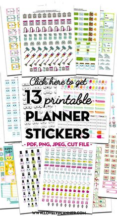 Lovely Planner - Free printables : party printables, planner stickers, lettering, DIY and more! Free Planner, Planner Pages, Happy Planner, Monthly Planner, Printable Planner Stickers, Printables, Journaling, Kawaii Planner, Types Of Planners