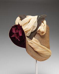 Hat | American or European, ca. 1880 | Material: straw | The Metropolitan Museum of Art, New York