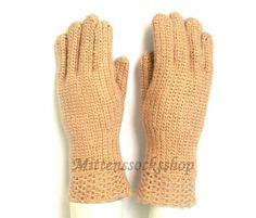 Beige Gloves with Fingers Hand Knit Beige Wool Gloves Beige Women's Gloves with Fingers Beige Girl's Gloves with Fingers Fingerless Gloves Yellow Gloves, Wool Gloves, Crochet Gloves, Knit Mittens, Knitting Socks, Hand Knitting, Fingerless Gloves, Wrist Warmers, Spring