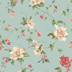 I pinned this Magnolia Wallpaper in Blue, Pink and Beige from the Seaside Chic Wallpaper event at Joss and Main!