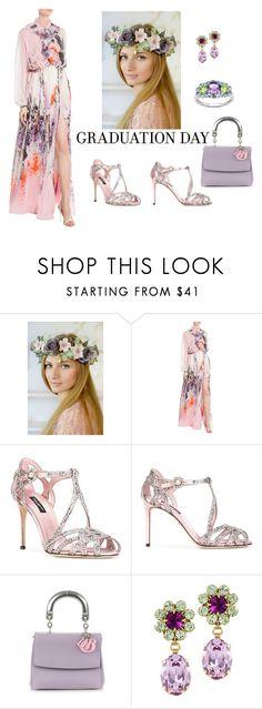 """Pale purple"" by vualia ❤ liked on Polyvore featuring Roberto Cavalli, Dolce&Gabbana, Christian Dior, Otazu, Olivia Leone, Graduation, PROMNIGHT, floralcrown and Prom2017"