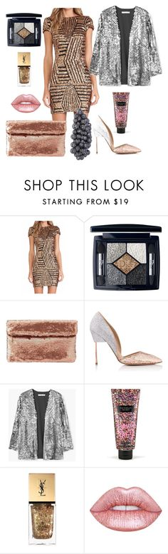 """""""Glitter Bae"""" by georgialeebeauty ❤ liked on Polyvore featuring Christian Dior, Charlotte Russe, Kurt Geiger, MANGO, Victoria's Secret, Yves Saint Laurent and Lime Crime"""