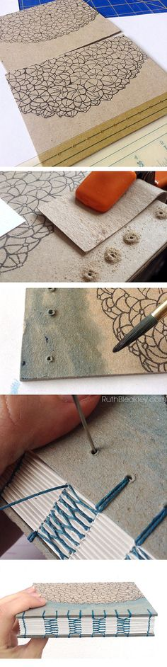 Coptic Stitch Journal with French Link Stitch bookbinding process photos by RuthBleakley