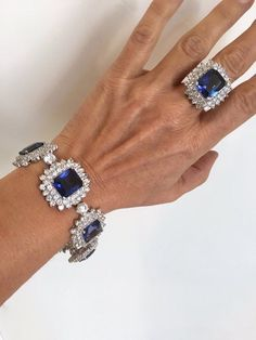 Items similar to Vintage Sterling Silver Blue Sapphire Diamond Cluster Estate Jewelry Ring Blue Stone Ring Cocktail Ring Large Stone Formal Ring Parure Set on Etsy Jewelry Sets, Jewelry Rings, Silver Jewelry, Vintage Jewelry, Jewelry Accessories, Fine Jewelry, Jewelry Design, Unique Jewelry, Silver Rings