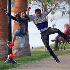 Zendaya & her current boyfriend Trevor Jackson - funny couple shot Zendaya Coleman, Zendaya And Trevor Jackson, Zendaya And Boyfriend, Zendaya Style, Idole, We Are The World, Disney Stars, Celebrity Couples, Relationship Goals