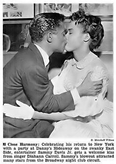 Sammy Davis Jr Kissing Diahann Carroll - Jet Magazine September 1, 1955, via Flickr. Jet Magazine, Black Magazine, Black Actors, Black Celebrities, Celebs, Black Love, Black Is Beautiful, Diahann Carroll, Sammy Davis Jr