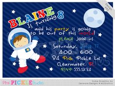 Astronaut Boy Personalized Party Invitation-personalized invitation, photo card, photo invitation, digital, party invitation, birthday, shower, announcement, printable, print, diy, space, outerspace