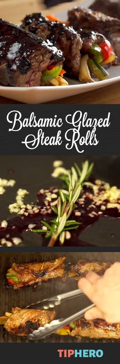 Balsamic Glazed Steak Rolls Recipe | Add a little elegance to your meat and potatoes with this sirloin (or flank steak) and pepper, zucchini and onion roll up. Watch the video for a quick how-to. #familydinner #meatlovers