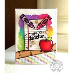 Sunny Studio Stamps School Time Teacher Thank You card by Audrey Tokach Teachers Day Greetings, Teachers Day Card, Teacher Thank You Cards, Cute Cards, Diy Cards, Teachers Day Drawing, Tarjetas Diy, Teacher Appreciation Cards, Paper Cards