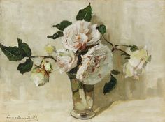 A Still Llife with White Roses in a Glass Vase (c.1920-25), Lucie van Dam van Isselt