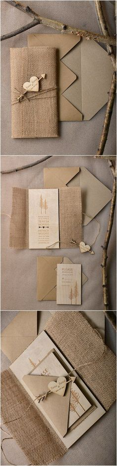 Rustic country burlap and real wood wedding invitations #rusticwedding #countrywedding #dpf