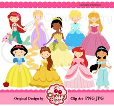 Fairytale Princess Digital Clipart Set por Cherryclipart en Etsy