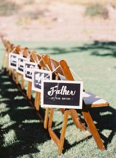 Great idea for reserving seats at your wedding!