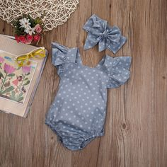 Baby Girls Chambray Look Polka Dot Romper with Headband Baby Outfits, Outfits Niños, Winter Outfits, Baby Girl Romper, Baby Girl Newborn, Baby Dress, Baby Girls, Baby Girl Items, Baby Crib