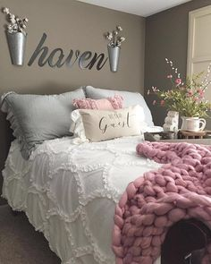 # @urban.farm.girl You have truly created the perfect bedroom haven full of cozy charm! We LOVE ruffles so we are swooning over your ruffle shams and throw pillows! It is so exciting to see our White Ruffle Comforter perfectly styled in your home! The additon of the blush color that pops out in your throw pillow, throw blanket, and floral arrangement really add visual appeal to your bedroom. The wood tray featuring a corbel and other lovely accent decor adds even more inviting warmth…