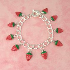 Strawberry Tiki Charm Bracelet - Vintage Inspired - Pin Up - Rockabilly - Tropical Hawaiian - Kitsch - Retro - 50's by PlayBox on Etsy