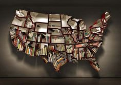 USA map bookshelf...pure awesomeness. This is TOTALLY going on my wall...once I get an apartment that lets me hang things :/