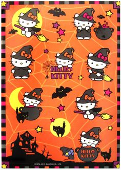 Hello Kitty Halloween stickers and like OMG! get some yourself some pawtastic adorable cat apparel! Hello Kitty Halloween Costume, Art Halloween, Kawaii Halloween, Halloween Stickers, Hello Kitty Pictures, Kitty Images, Halloween Backgrounds, Halloween Wallpaper, Love Stickers