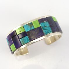 "Sterling Silver Cuff Bracelet with a Cobble Inlaid Design using Natural Morenci Turquoise, Sugilite, and Gaspeite. 1"" Cuff Width 5.5"" Inside Measurement, plus 1"" opening (6.5"" Total Circumference - Me"