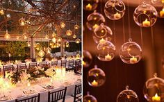 """Outros itens de decoração que podem ser suspensos são as velas. Em suportes delicados de vidro, as velas deixam a decoração mais luxuosa e dão um ar de """"luzes flutuantes"""" como no filme Enrrolados ;3"""