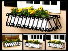 Wrought iron window boxes offer distinctive styling and old-world charm. Get that traditional European look with one of our many iron flower boxes, available in square and tapered designs.