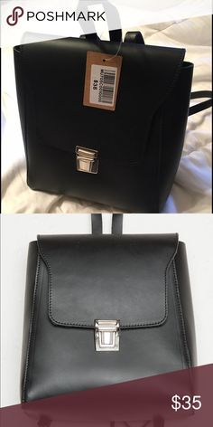 Trendy Brandy Melville black backpack Small Faux leather backpack with fold will go perfectly with any outfit. New with tags, sold out in stores. Brandy Melville Bags Backpacks