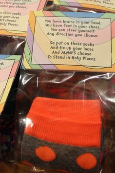 Seuss Stand in Holy Places socks-could also be used for yw in excellence Secret Sister Gifts, Secret Pal, New Beginning Quotes Fresh Start, Girls Camp Gifts, Fun Gifts, Yw In Excellence, Young Women Activities, Personal Progress, Visiting Teaching
