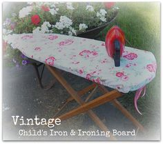 Darling Vintage Child's Ironing Board  & red tin iron!