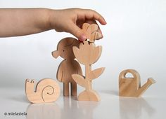 Wooden toy - flower-girl - a girl, flower, watering can, snail, bee - Garden Love - eco friendly toy