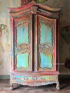 Hand Painted Wardrobe- Dionne Woods - The Turquoise Iris Decor, Funky Furniture, Creative Furniture, Painted Wardrobe, Refinishing Furniture, Furniture Inspiration, Cool Furniture, Funky Painted Furniture, Paint Furniture