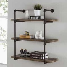 Shop b three tier faux wood industrial pipe wall shelf on shelves for walls mounted shelving units Regal Industrial, Industrial Pipe Shelves, Industrial Interior Design, Industrial House, Pipe Shelving, Wall Shelving, Metal Pipe Shelves, Urban Industrial, Industrial Furniture