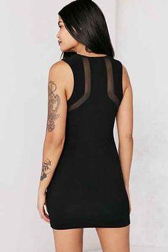 Silence + Noise Mesh Inset Bodycon Mini Dress