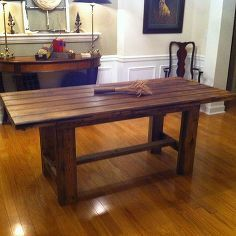 farmhouse table, repurposing upcycling, woodworking projects, Barn door farmhouse table