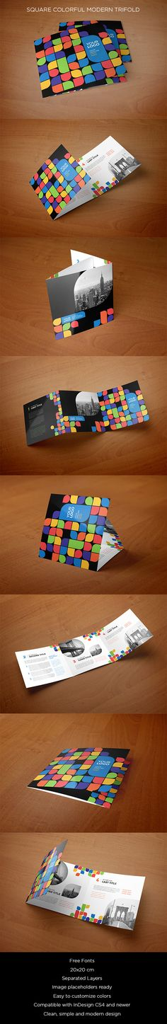 Square Colorful Modern Trifold. Download here: http://graphicriver.net/item/square-colorful-modern-trifold/13377369?ref=abradesign