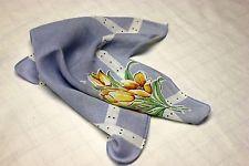 Vintage Unique Floral Cotton Handkerchief Pale blue, yellow, orange 1947-1964