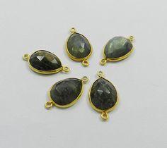 Wholesale Lots, 5 Pcs 925 silver LABRADORITE gem double loop connectors Jewelry #Handmade