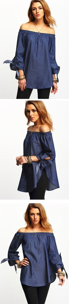 Classic with a cute twist, the Off The Shoulder Denim Top features an off the shoulder cut, tie sleeves and an overall flowy fit. Pair with soft waves and subdued makeup for a feminine ensemble!