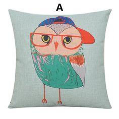 Owl throw pillow Cartoon desgin linen couch cushions 18 inch