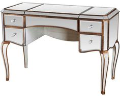 NEW ISABELLA SILVER MIRRORED ANTIQUED GOLD FINISH MAKEUP VANITY DESK w/ STORAGE