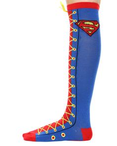 SUPERMAN LACE UP KNEE HIGH SOCKS  I want these!!!!!!!