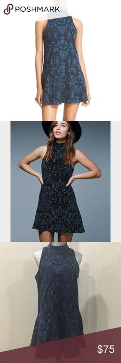 """New Free People Amelia Dress Free People Dress """"Amelia"""" (blue combo) boho chic inspired blue black knitted short dress with dropped waist and flared skirt. Sleeveless, partial back zip closure, turtle neck. Very flattering fit, stretchy. Never worn, BRAND NEW!!! Free People Dresses Mini"""
