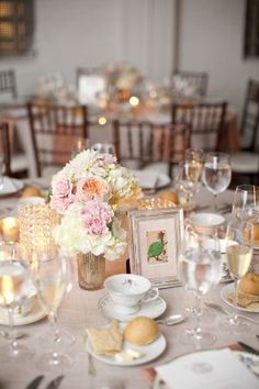 With the clean, modern feel of Room 1520 as the backdrop, the tables were dressed with romantic arrangements of garden roses and hydrangea in milk glass vases from Fleur, custom textured linens, elegant vintage china from Plate, and table names of quirky, vintage playing cards.