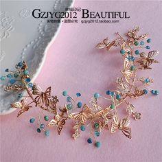 Корейский свадебный головной убор золотой бабочки синий кристалл из бисера аксессуары для волос диапазон волос свадебное платье с драгоценностями - Taobao