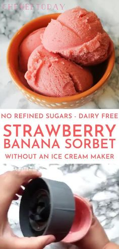 How to make delicious, healthy strawberry banana sorbet in your blender with frozen fruit and WITHOUT an ice cream maker -- quick and easy homemade vegan recipe that's dairy free and only calls for 3 ingredients and NO refined sugar! Sorbet Ice Cream, Fruit Ice Cream, Strawberry Milkshake Recipe Without Ice Cream, No Sugar Ice Cream, Blender Ice Cream, Watermelon Ice Cream, Raspberry Sorbet, Dairy Free Ice Cream, Vegan Ice Cream