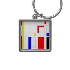 'Modern Vibe 2' by Roz Abellera, Keychain.  Abstract design influenced by the Modern Art movement. This design explores minimalism and contemporary non representational Modern Art.  #keychain #accessories #art #abstract #RozAbellera #modern #vibe #Mondrian