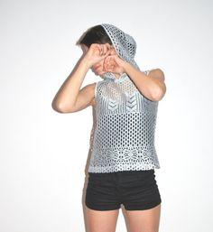 vintage silver sleeveless hoodie