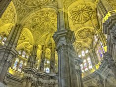 The #gorgeous #interior of #malagacathedral with soaring columns, #stainedglass and ancient #art. #architecture #photography #cathedral #history #Renaissance #andalucia #church #travel