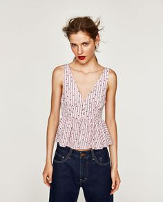 Image 2 of STRIPED AND FLORAL PRINT TOP from Zara