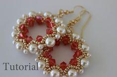 PDF tutorial beaded Earrings Singhalese_ seed beads_pearls_crystals_Swarovski_easy pattern